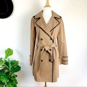 Club Monaco leather trim trench coat